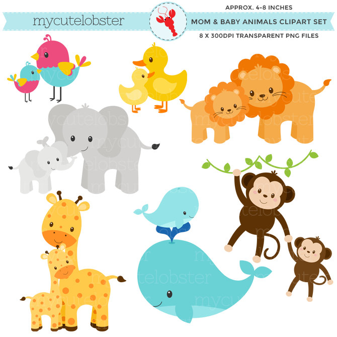 Cute Parent And Baby Animal Clipart.