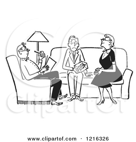 Cartoon of a Retro Happy Family Having a Meeting About the Budget.
