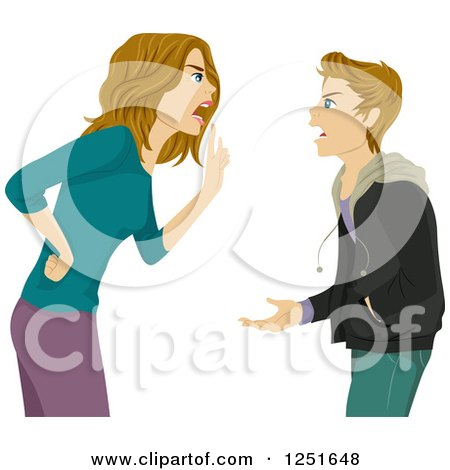 Clipart of a Mother Arguing with Her Teenage Daughter.