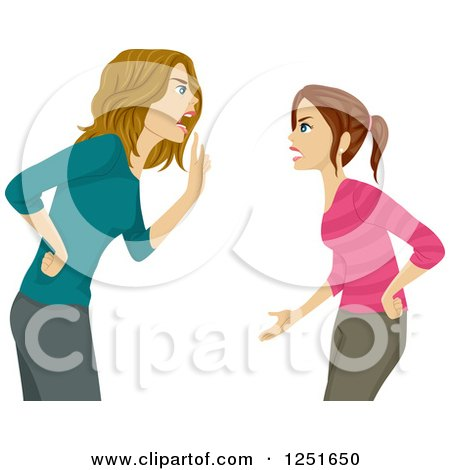 Clipart of a Mother Arguing with Her Teenage Son.