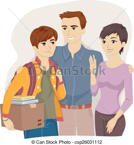 Vector Clip Art of Family Teen Parent Guidance Counseling.