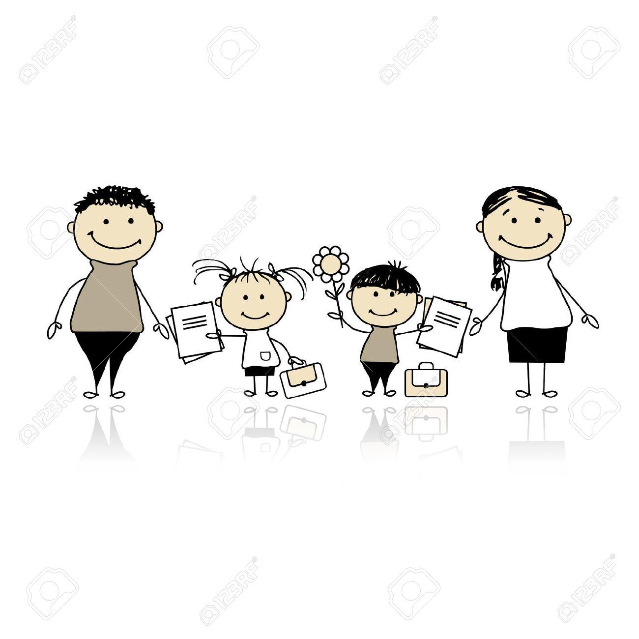 Parent child school clipart.