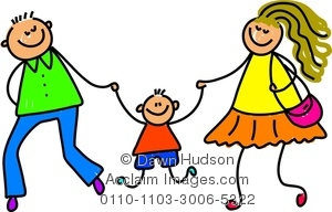 Clipart Image of A Happy Little Boy Holding Hands With His Parents.