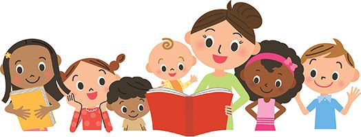 Image result for kids reading with parents clipart.