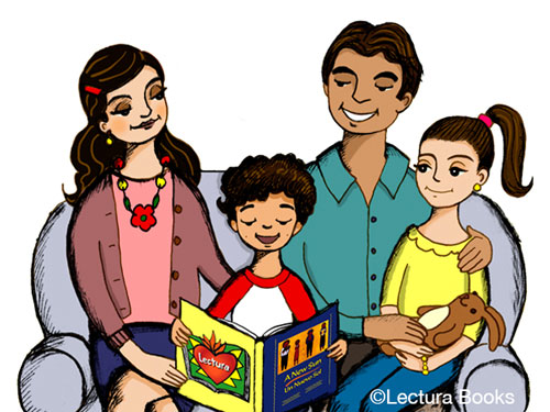 Family Reading Clipart.