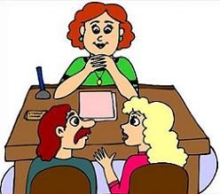 Parent and teacher conference Clipart.