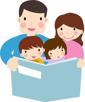 Parents Reading With Children Clipart.