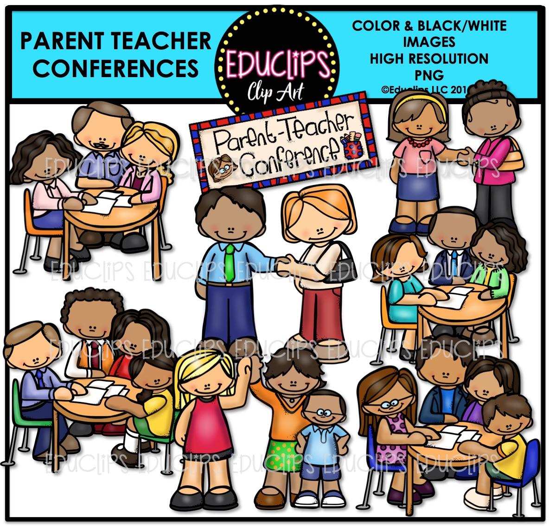 Parent Teacher Conferences Clip Art Bundle (Color and B&W.