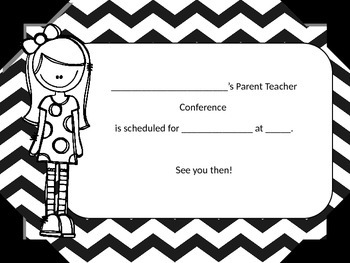 Parent Teacher Conference Reminder Cards (Editable).