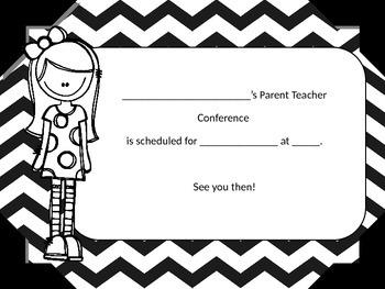 Parent Teacher Conference Reminder Cards (Editable).