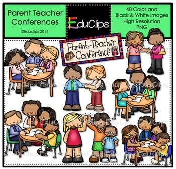 Parent Teacher Conferences Clip Art Bundle {Educlips Clipart.