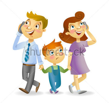 Kids with parents clipart.