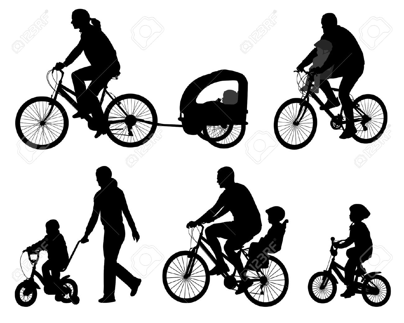 Silhouette clipart of kids riding bikes.