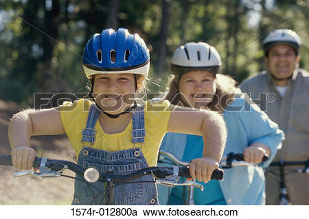 Stock Photography of Daughter cycling with her parents 1574r.