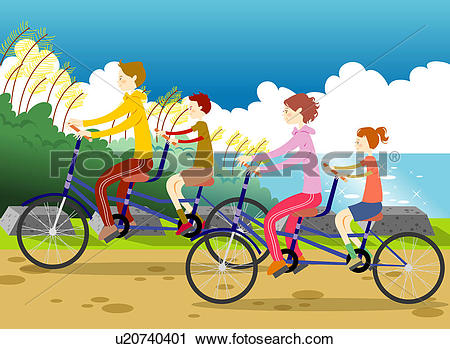 Clipart of Young parents riding bikes with children by sea.