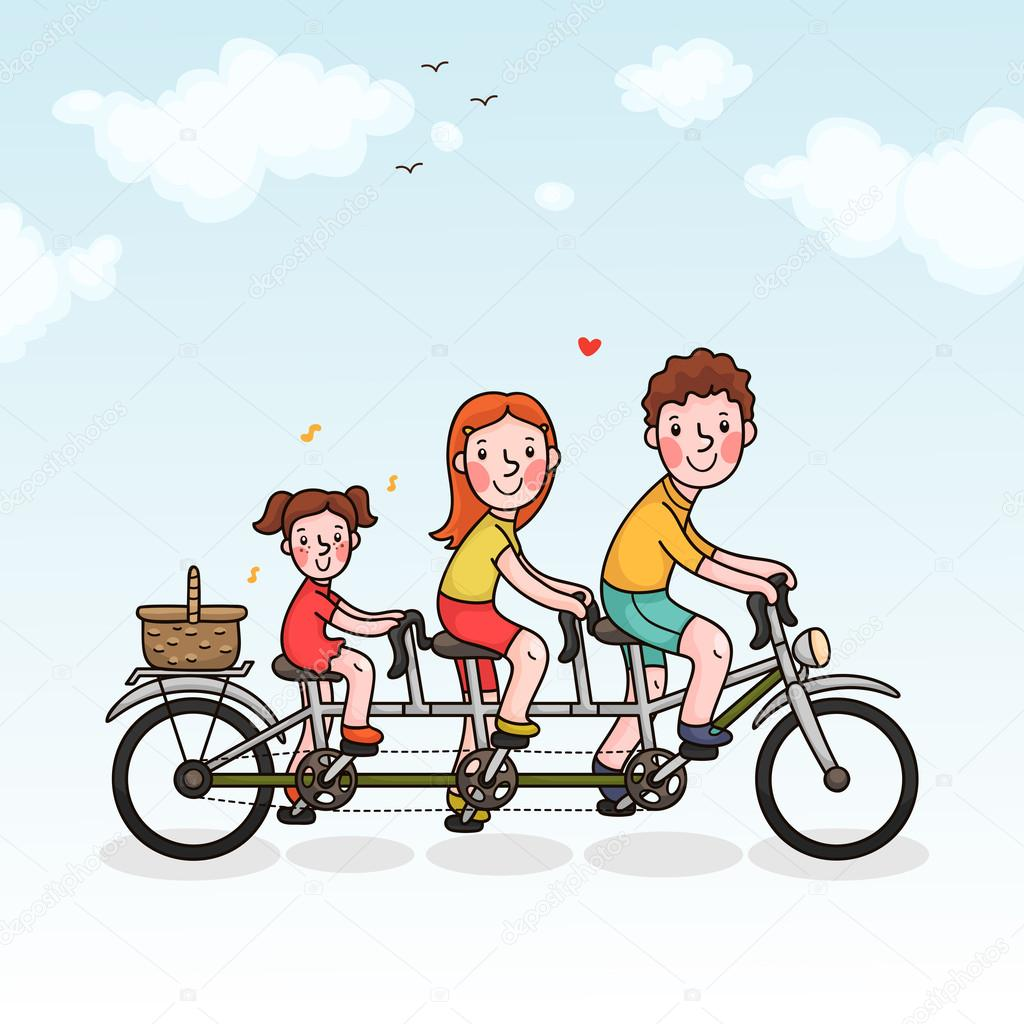 Family picnic parents and daughter tandem bicycle — Stock Vector.