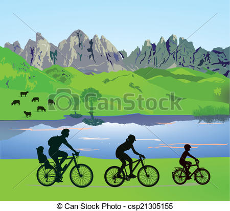 Clipart Vector of Parents with children when cycling.