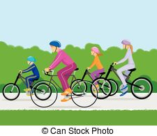 Family cycling parents and daughter Vector Clipart Royalty Free.