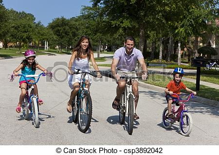 Stock Photo of Modern Family Parents and Children Cycling.