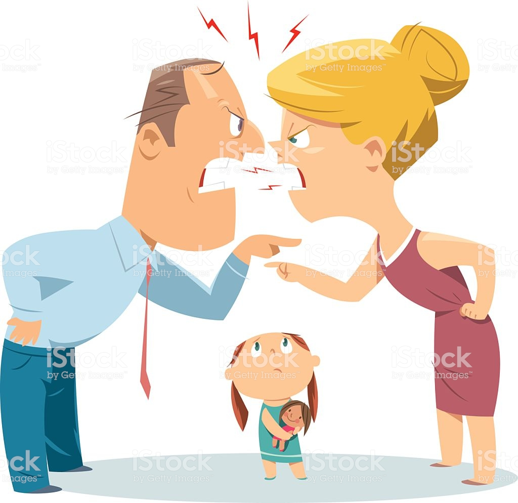 Vector couple fighting in front of child » Clipart Station.