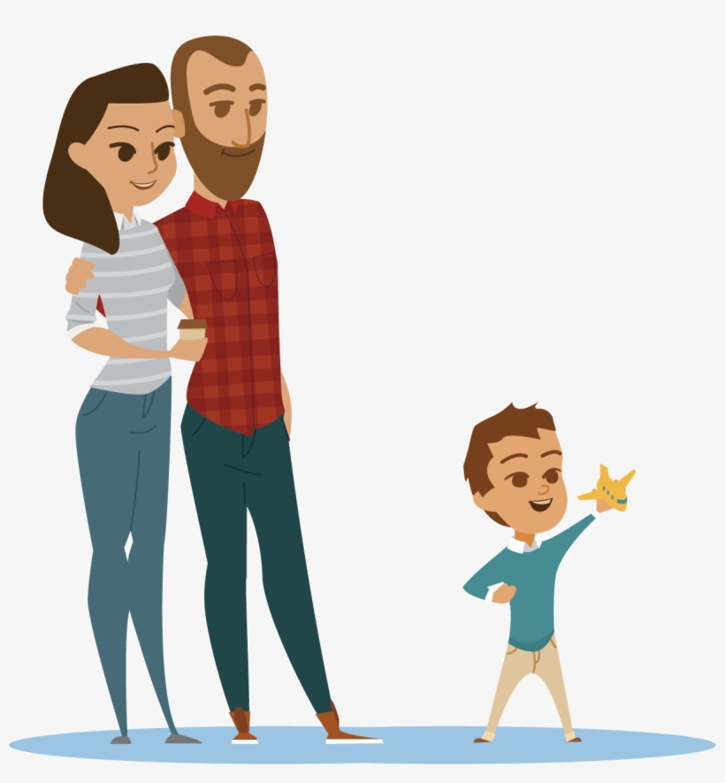 Cartoon Family Flat Design Animation.