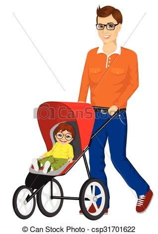 Clip Art Vector of beautiful single mather pushing stroller.