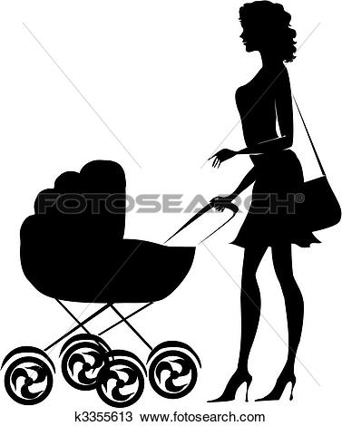 Clipart of Parents and children with pram Silhouette Vector.