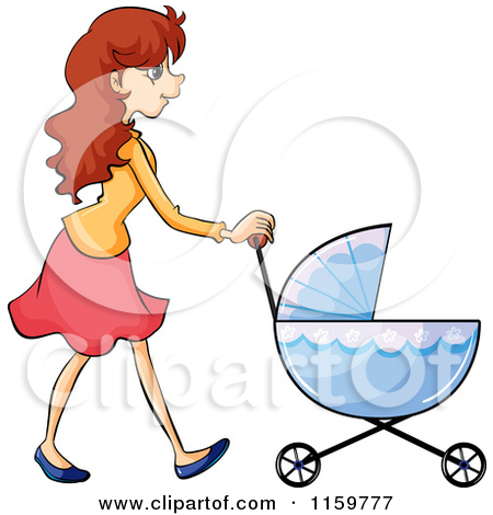 Cartoon of a Father Walking with a Baby Stroller.
