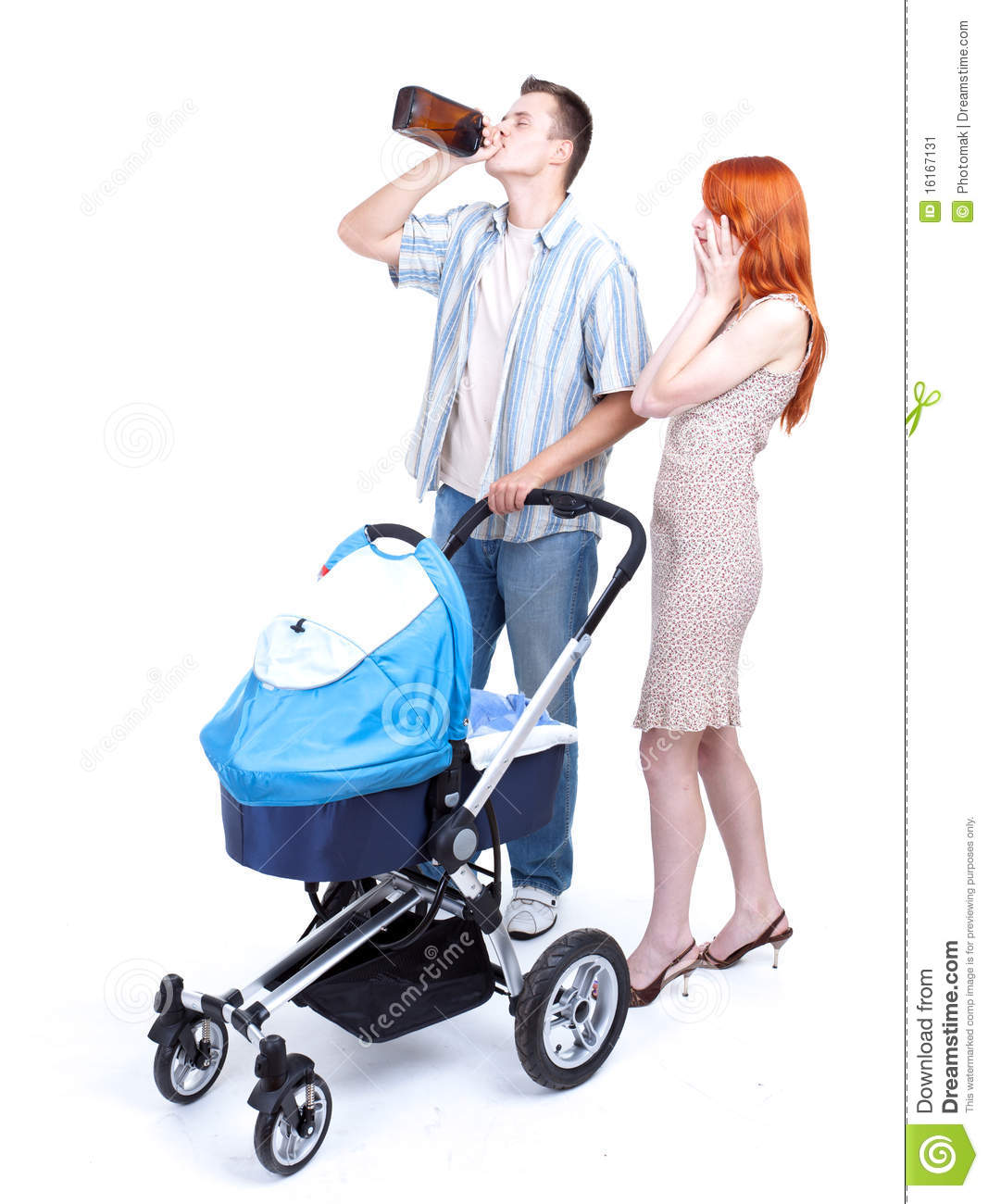 Parents With Baby Pram, Father Drinking Alcohol Stock Image.