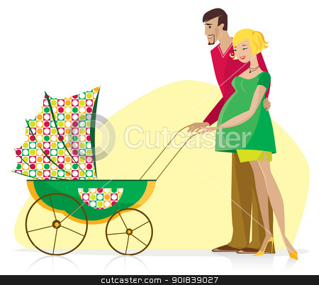 Happy Couple with Baby Stroller stock vector.