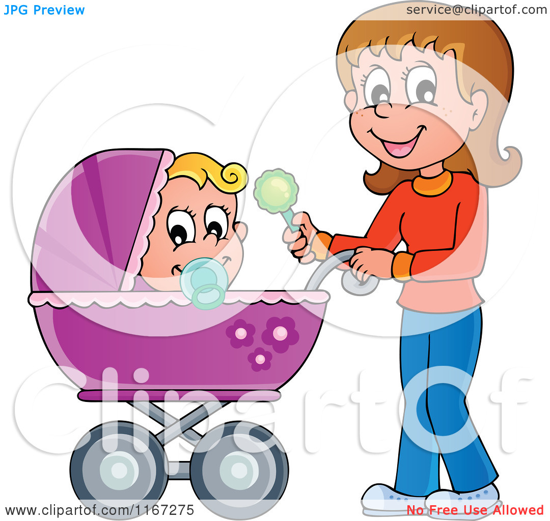 Cartoon of a Happy Mother Waving a Rattle and Pushing a Baby in a.