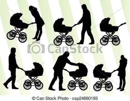 EPS Vectors of Parents with baby pram vector background set.