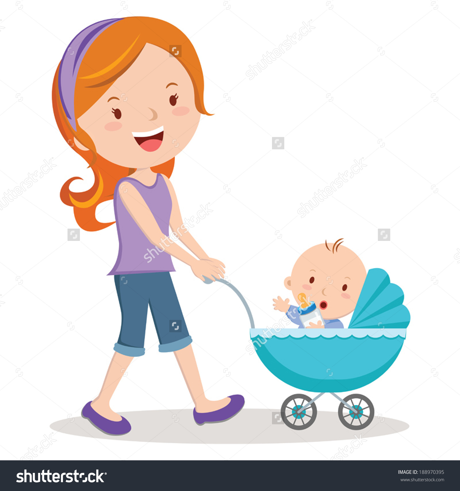 Mother Baby Stroller Young Mother Pushing Stock Vector 188970395.