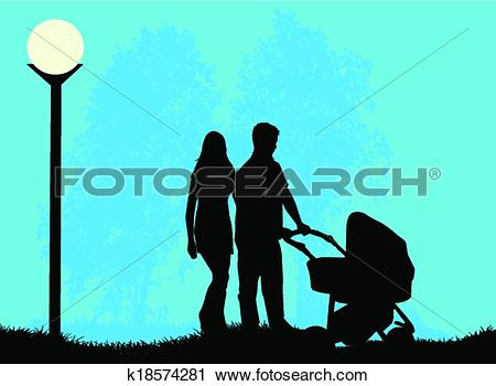 Clipart of Parents with a child walking in the pram k18574281.