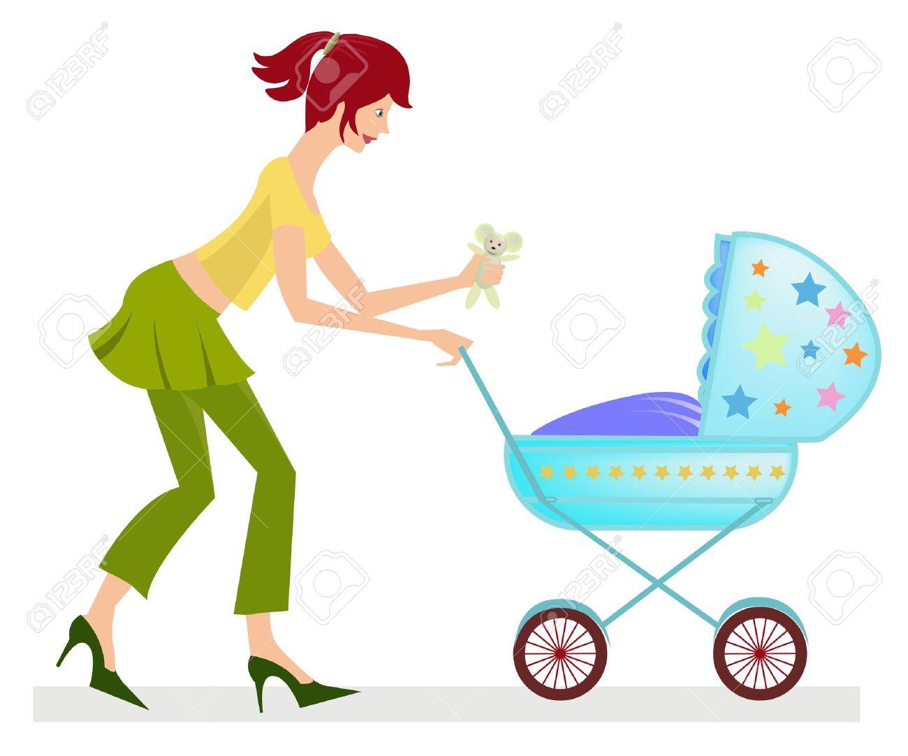 Mom pushing stroller clipart.