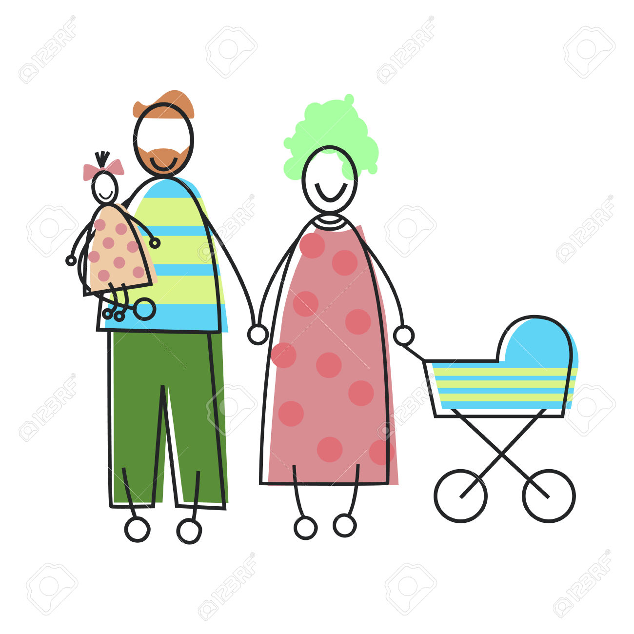 Family Parents With Child And Baby Pram Vector Illustration.