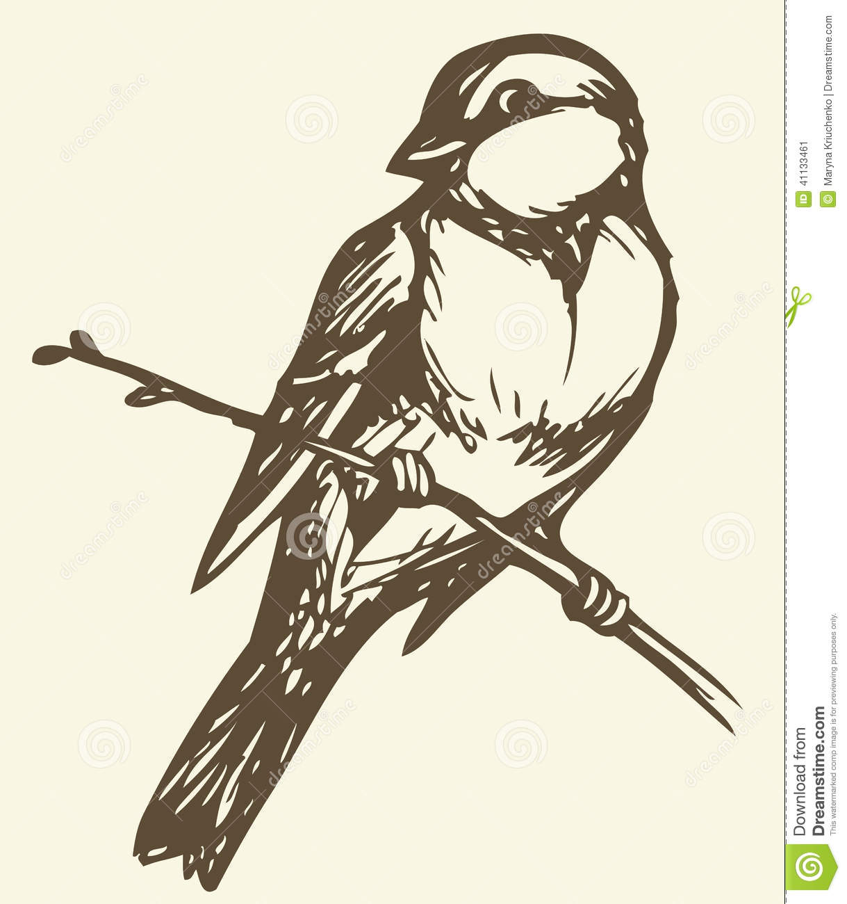 Vector Drawing. Small Titmouse On A Branch Stock Illustration.