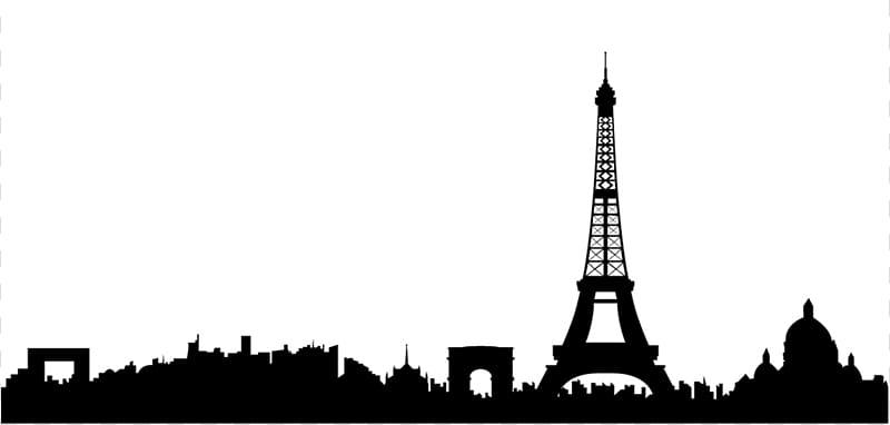Paris Skyline Silhouette , Paris transparent background PNG.