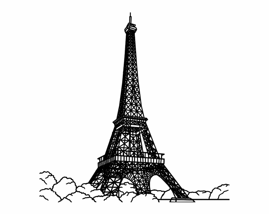 Paris Black And White Drawing.