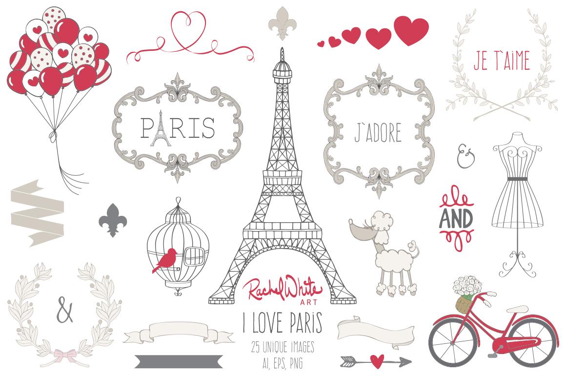 I Love Paris Clip Art Set on Behance.