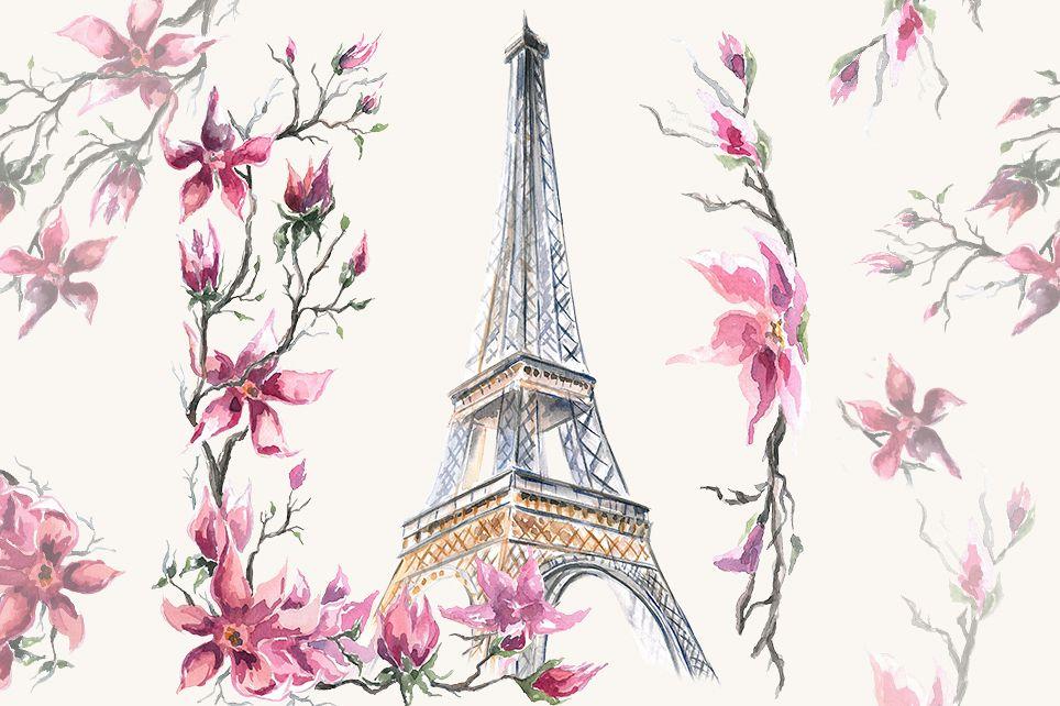 Paris clipart, Watercolor Clipart, Eiffel Tower.