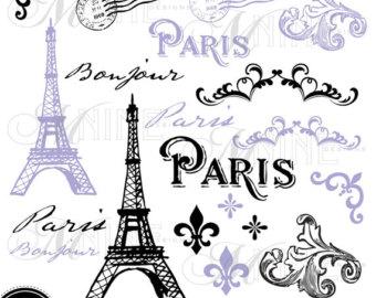 Purple Paris Fashion Clipart.