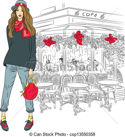 Clipart Vector of Vector lovely fashion girl on the background of.