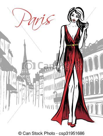 Vector of woman walking in Paris.
