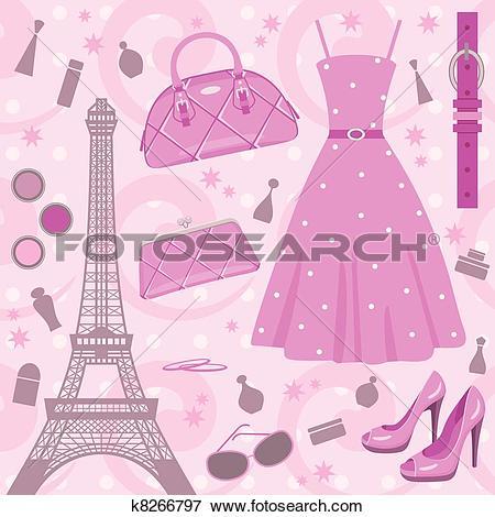 Clip Art of Paris fashion set k8266797.