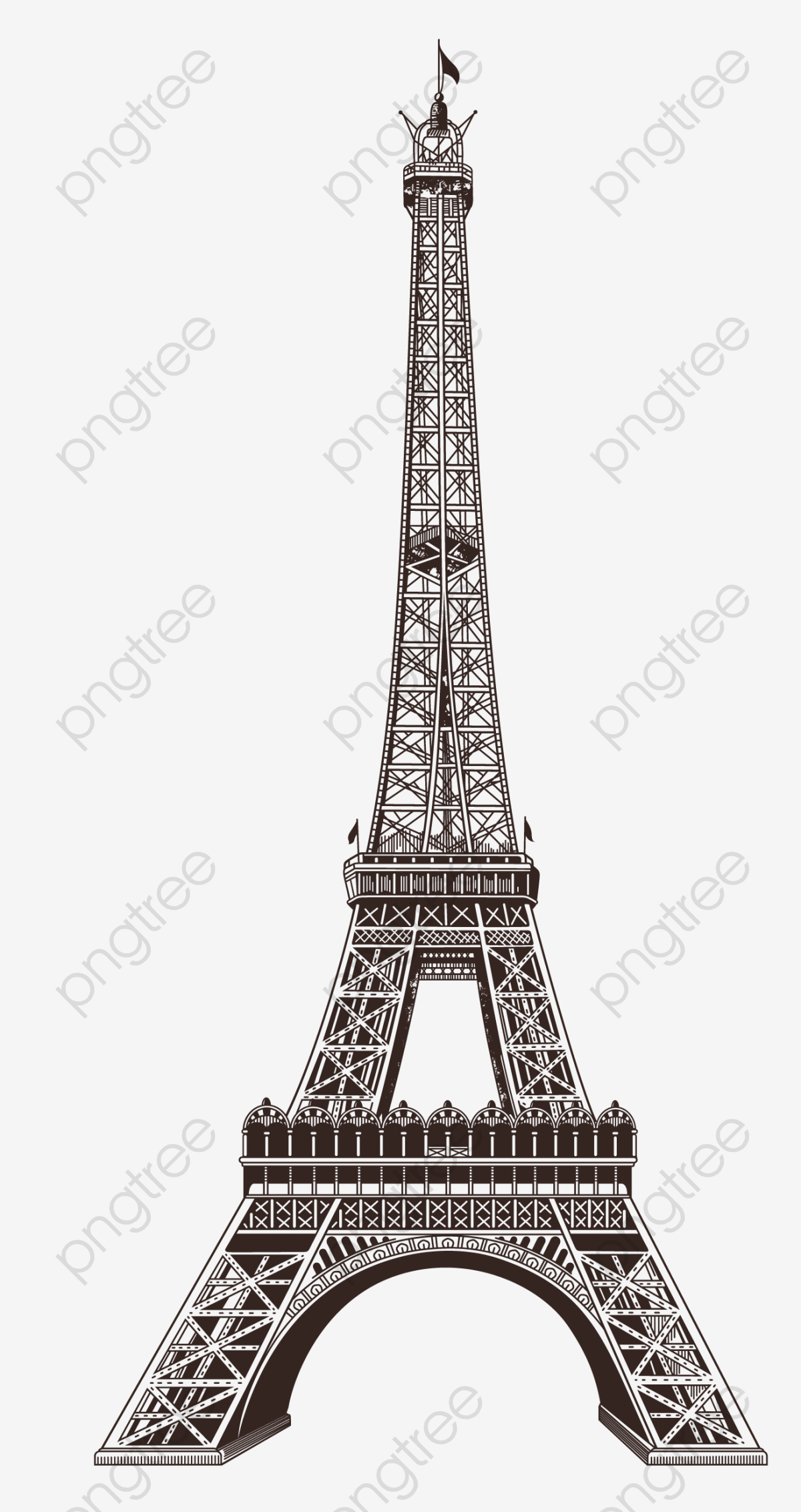 Eiffel Tower, Paris Building, Eiffel Tower Element PNG.