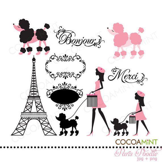 Paris Poodle Clip Art.