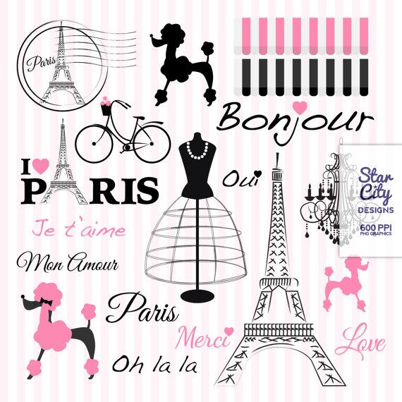 Paris Clipart, Paris poodle clipart, clipart, clip art.