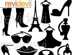 Paris fashion boutique black silhouette clipart graphics.