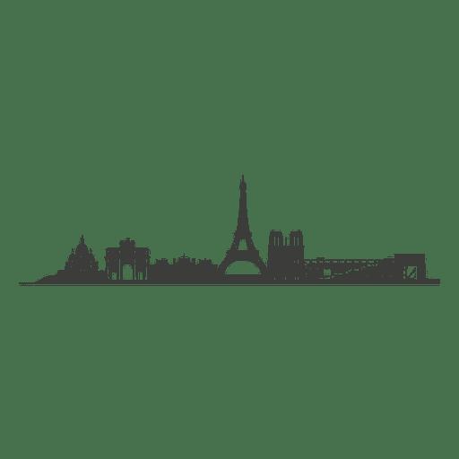 Paris skyline silhouette.